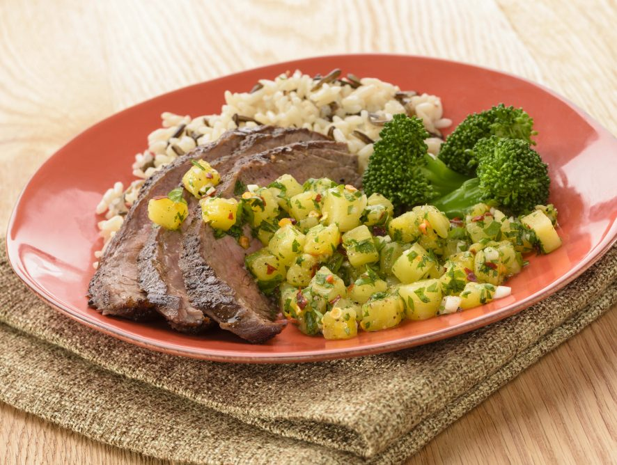 Roasted Pineapple Chimichurri  With Grilled Flank Steak
