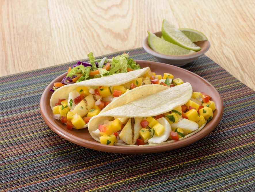 Mango Citrus Salsa on Grilled Fish Tacos