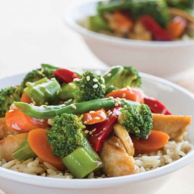 Garlic Chicken and Vegetable Rice Bowl