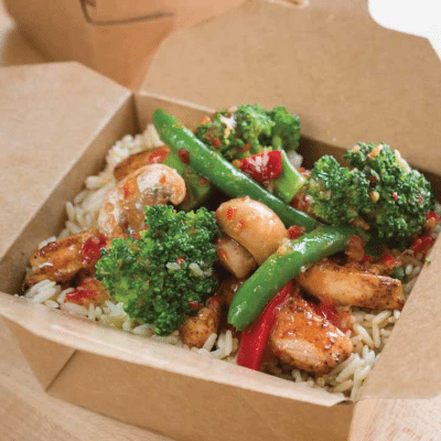 Sweet Chili Chicken and Vegetables with Rice